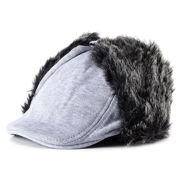 Unisex Men Women Earflap Ear Muff Cotton Blend Faux Fur Plush Linen Beret Cap Windproof Cycling Hat