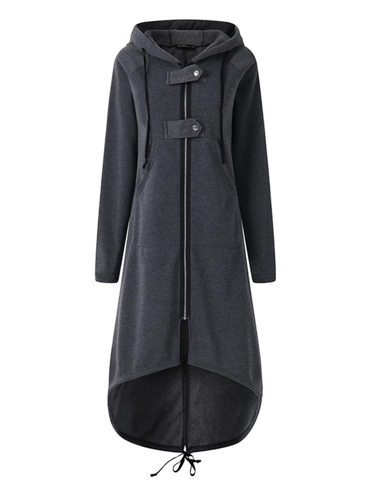 S-5XL Women Zipper Hooded Long Sweatshirt Jacket