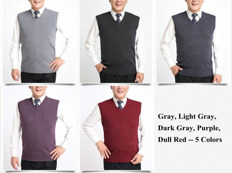 Men's Casual Knitted Pullover Vest Solid Color Warm V-neck Sweater Waistcoat
