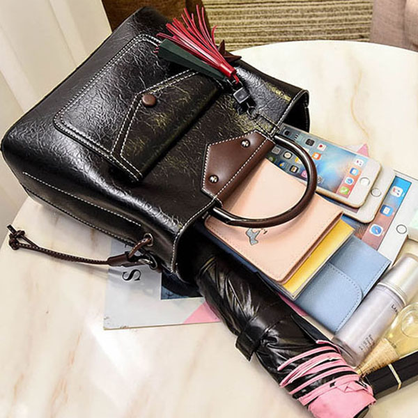 Women Faux Leather Handbag Tassel Leisure Crossbody Bag