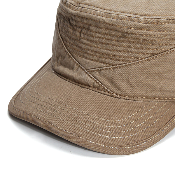 Mens Cotton Solid Flat Top Hat Adjustable Summer Military Visor Baseball Caps