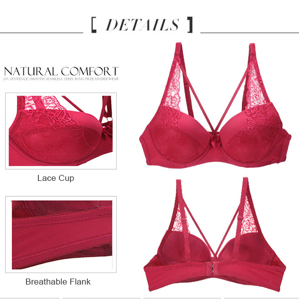 Sexy Lace Underwire Push Up BC Cup Soft Breathable Adjusted Thin Bra