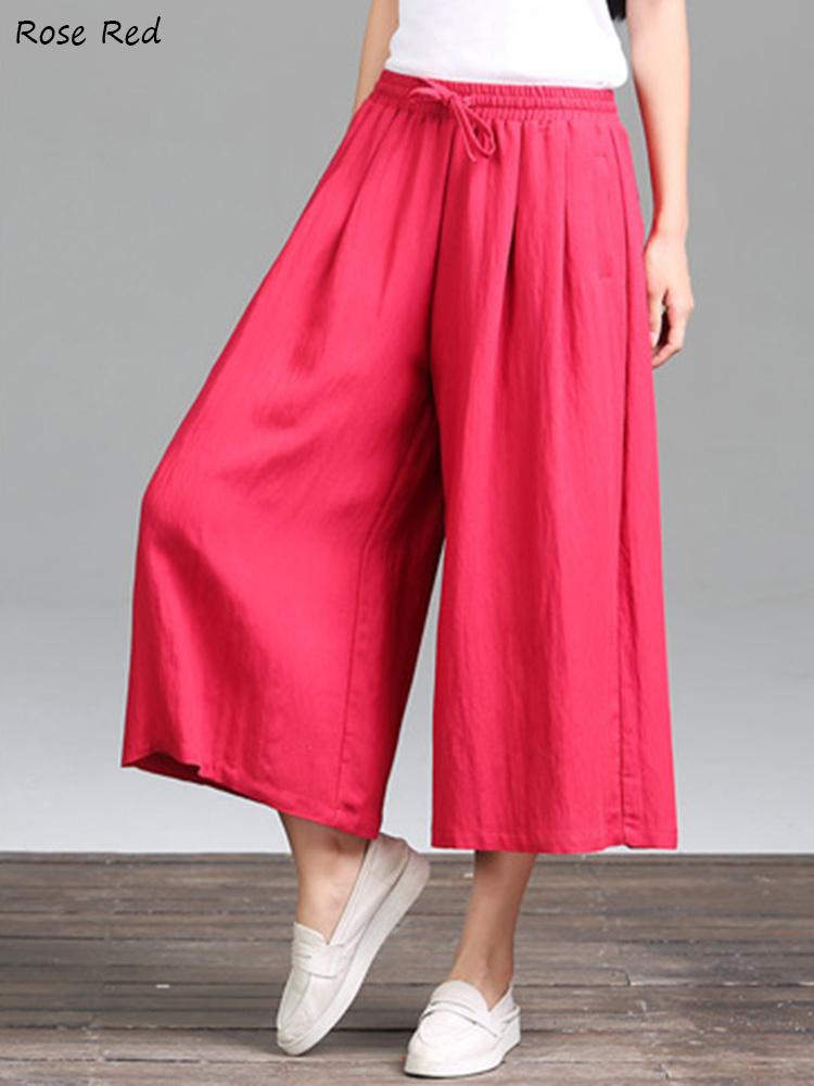 Casual Pure Color Loose Cotton Women Wide Leg Pants