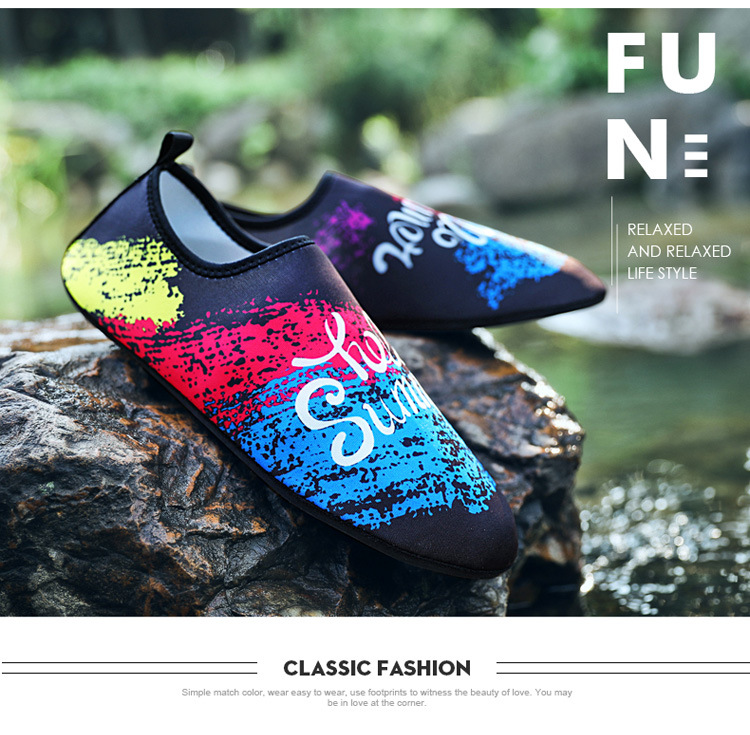 Outdoor Swimming Shoes Male Couple Upstream Shoes Beach Diving Shoes Women Yoga Wading Shoes Rainy Day Rubber Printed Spring Summer Autumn Shoes