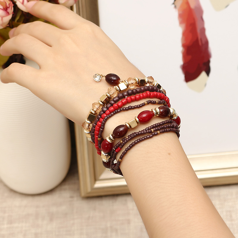 Women's Bohemian Bracelet Colorful Multilayer Beads Charming Bracelet