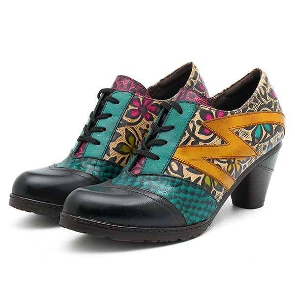 SOCOFY Retro Splicing Pattern Pumps Lace Up Ankle Boots