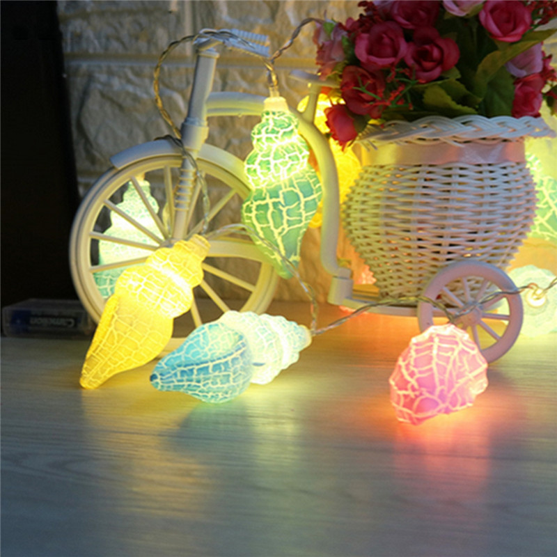 Crack Colorful Star Conch LED Light String Christmas Decoration