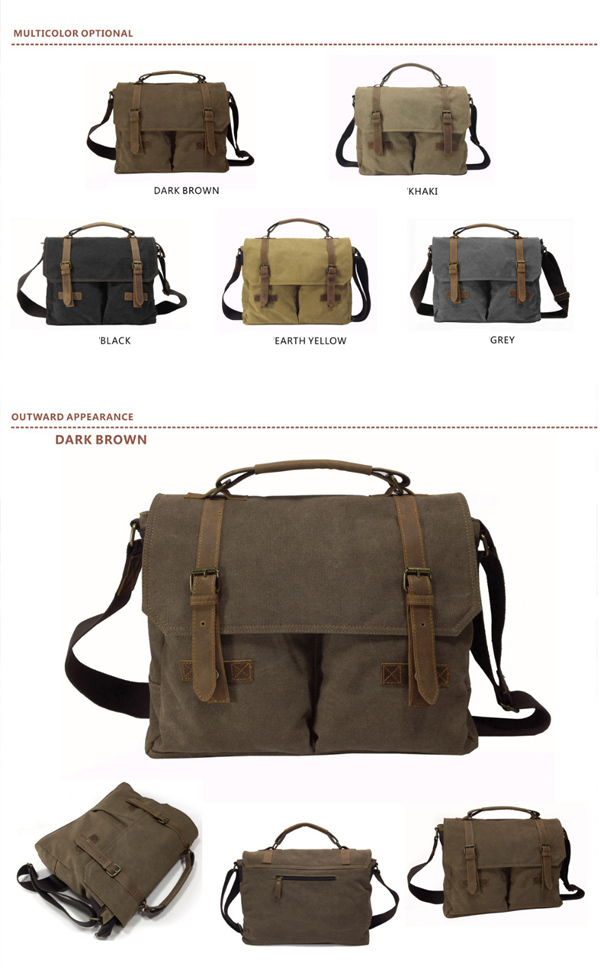 Vintage Canvas Messenger Bag for Men