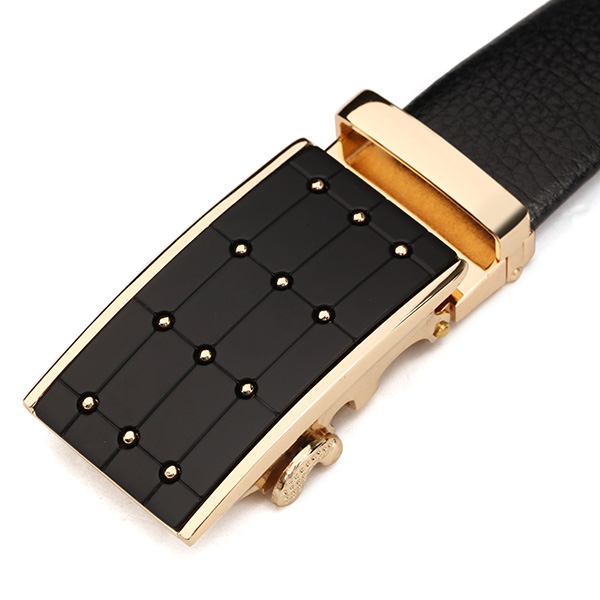 120CM Men First Floor Cowhide Grid Frosted Gold Alloy Adjustable Automatic Buckle Belt