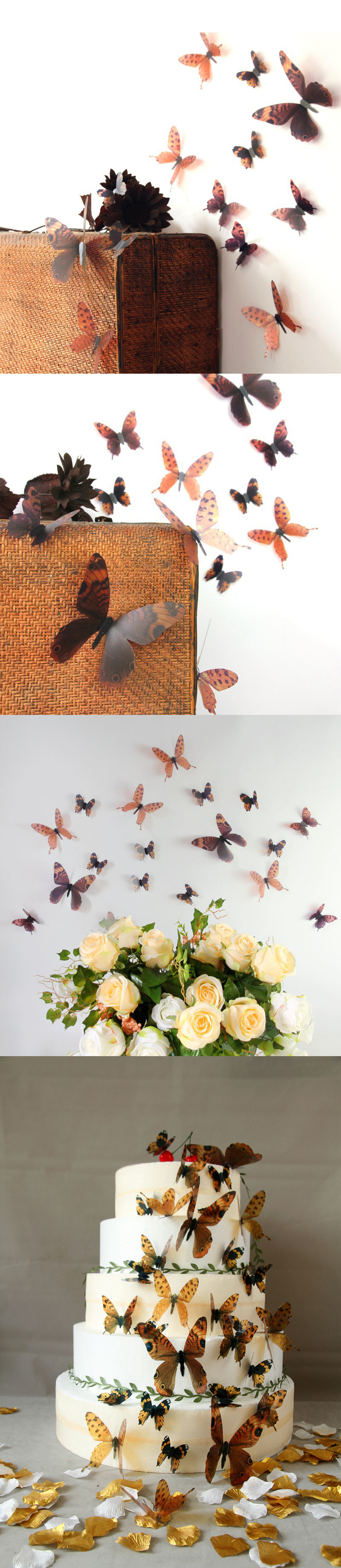 18Pcs 3D Transparent Butterfly Wall Stickers PVC European American Style Color Paste Decor