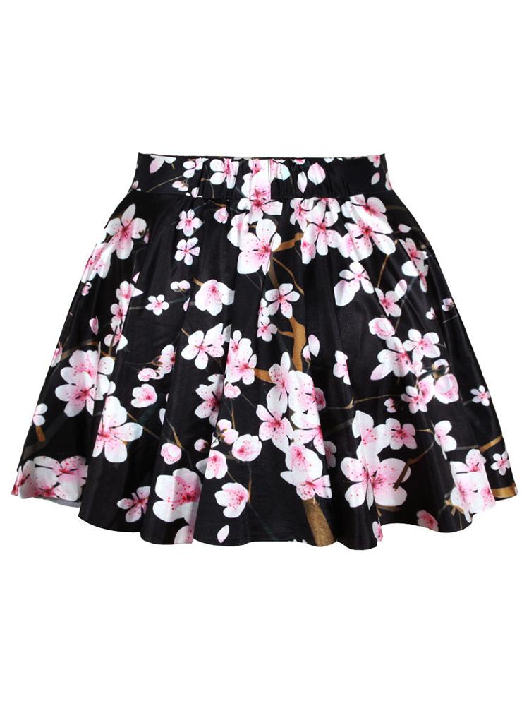 Women Vintage Galaxy Printed Floral High Waist A-Line Mini Skirt