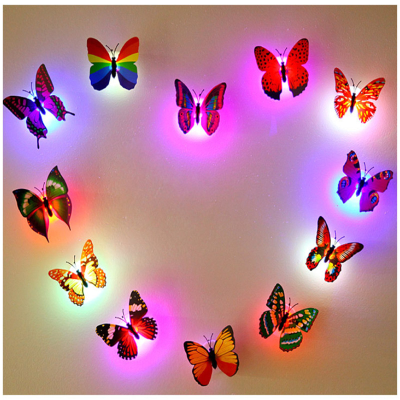 DIY LED Glowing 3D Butterfly Night Light Sticker Design Mural Home Wall Decal Decoration