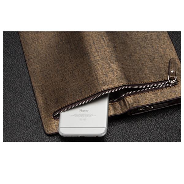 Men PU Leather Long Wallet Men Business Mobile Phone Clutch Bag Card Holder