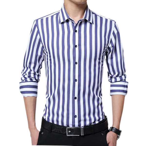 Business Stripe Printing Long Sleeve Slim Button up Shirts f