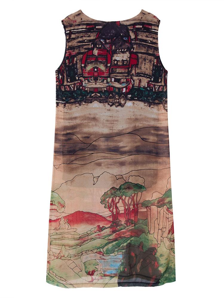 Vintage Women Sleeveless Landscape Printing Chiffon Maxi Dress