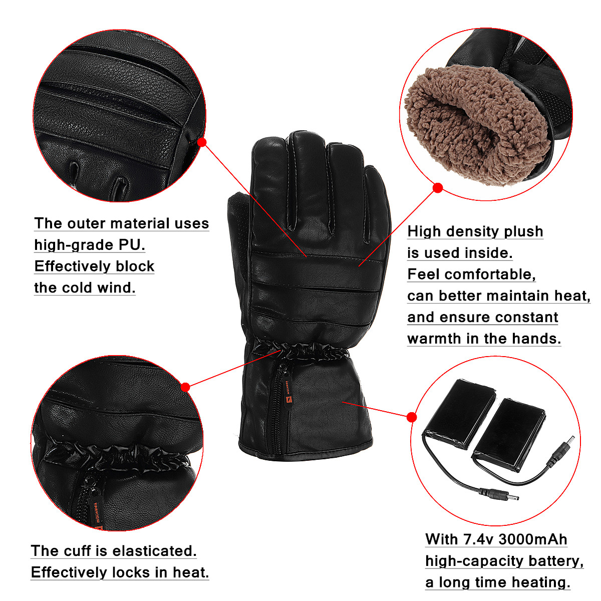 Leather Rechargeable Battery Electric Heated Gloves Hands Winter Warmer Outdoor Motorcycle
