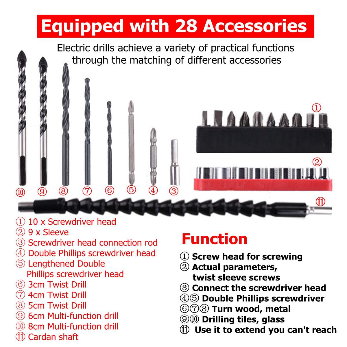 2 In 1 Cordless Drill 48V Double Speed Power Drills Electric Screwdriver LED lighting 1/2Pcs Large Capacity Battery