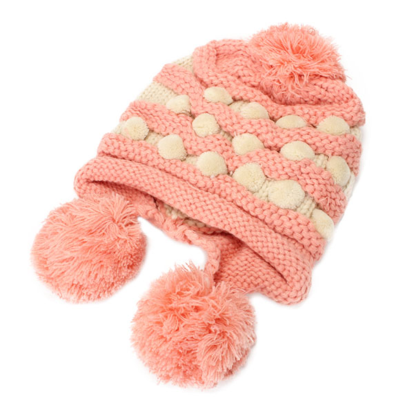 Women Ladies Crochet Knitted Big Ball Mixed Color Ear Muff Beanie Cap Earflap Winter Hat