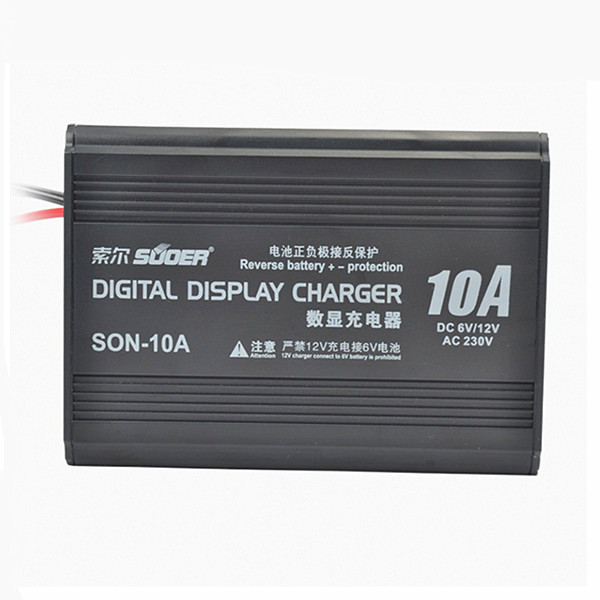 Suoer™ 220V 10A Smart Fast Battery Charger LCD Digital Display PWM For 12V/6V battery Car Motorcycle