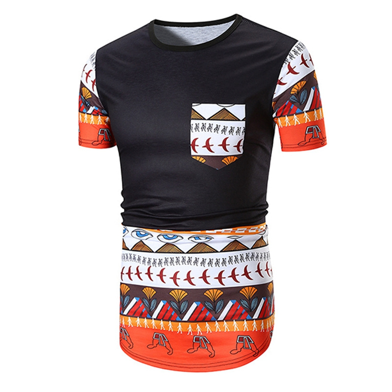 Ethnic Style Mens Color Blocking Printing Casual T-Shirts