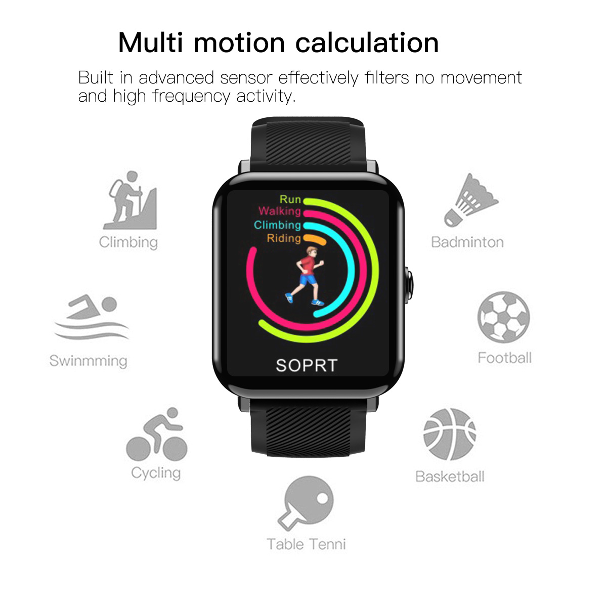 OUKITEL W2 1.3inch 2.5D Heart Rate Monitor Sport bluetooth Smart Watch For iphone X 8/8Plus Samsung