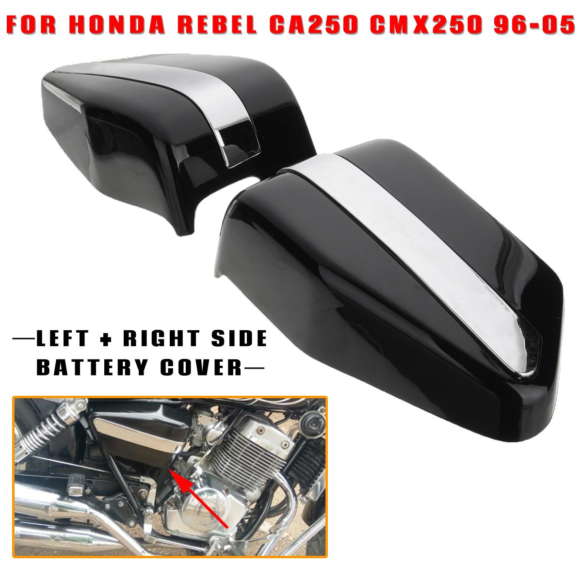 Motorcycle Fairing Battery Covers 2 Sides For Honda Rebel CA250 CMX250 96-05