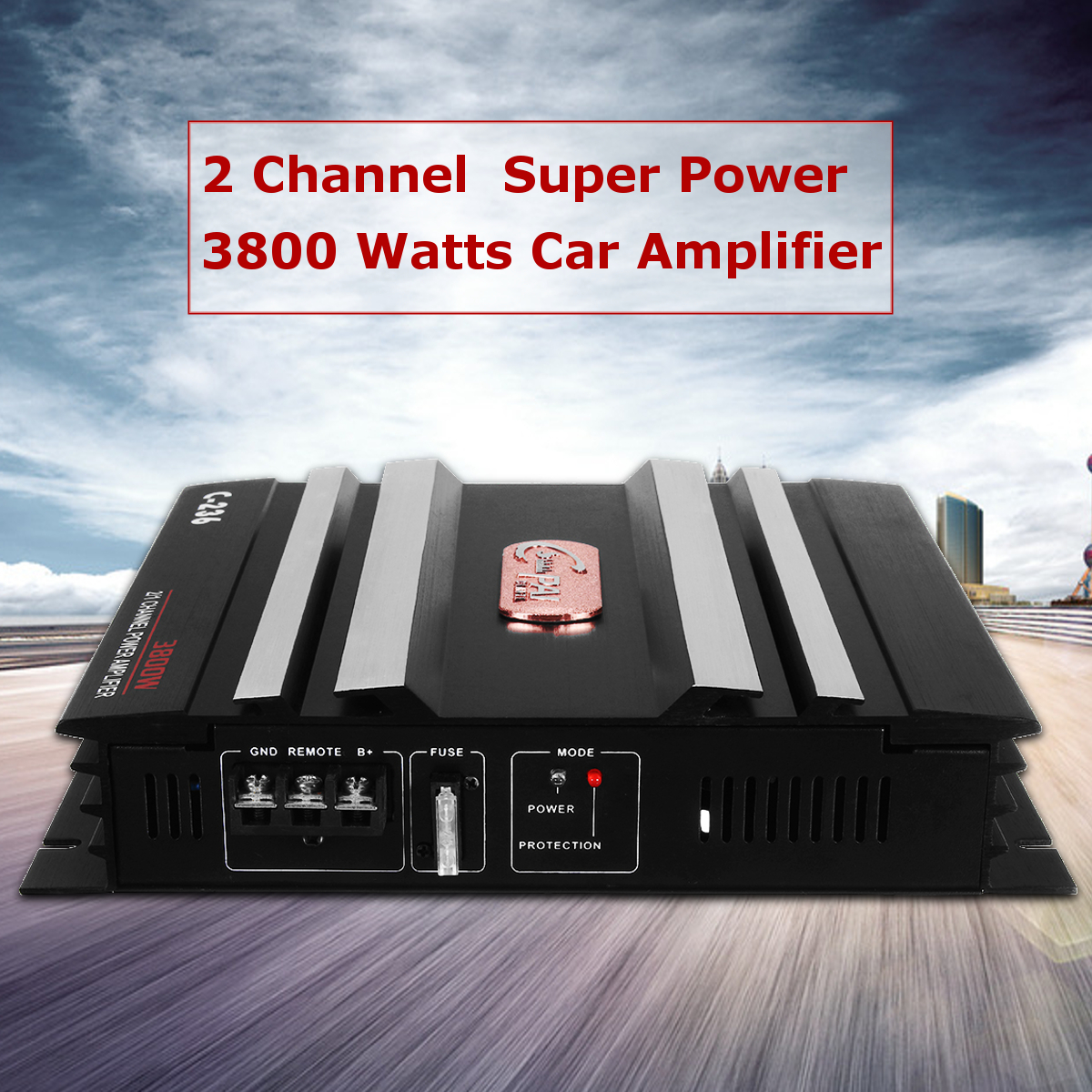 C-236 3800 Watt 2 Channel Powerful Car Audio Amplifier Bass AMP Aluminum 12V DC