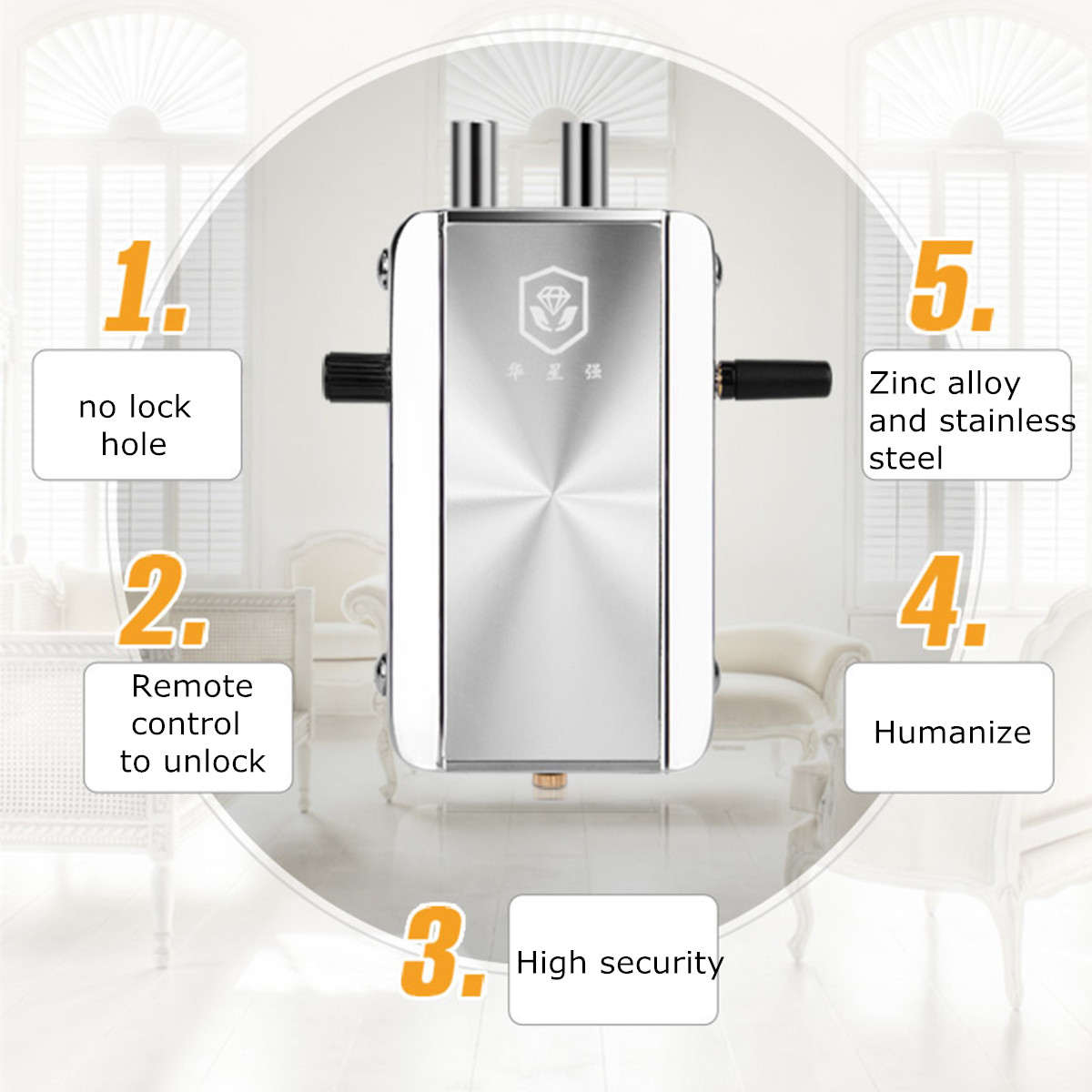 Wireless Lock Remote Control Door Lock Anti-theft Lock Automatically Intelligence Household for Home