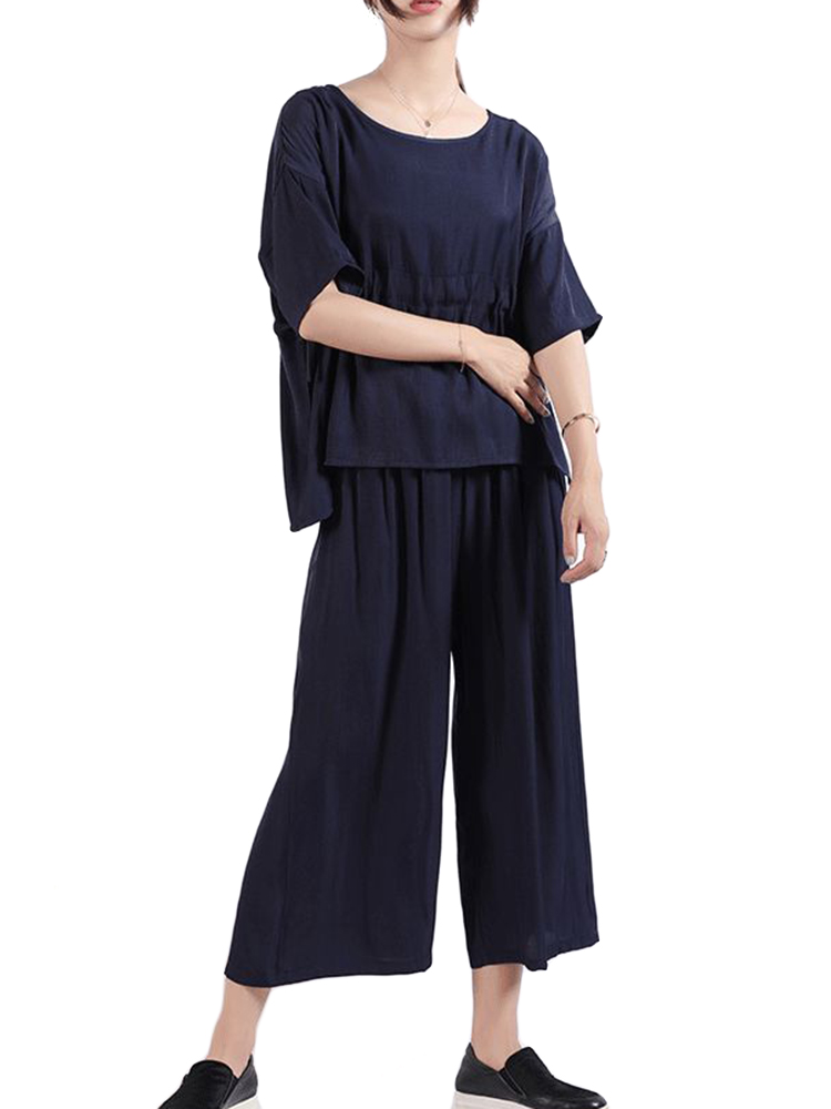 Women Adjustable Waist Blouse and Wide Leg Pants Sui