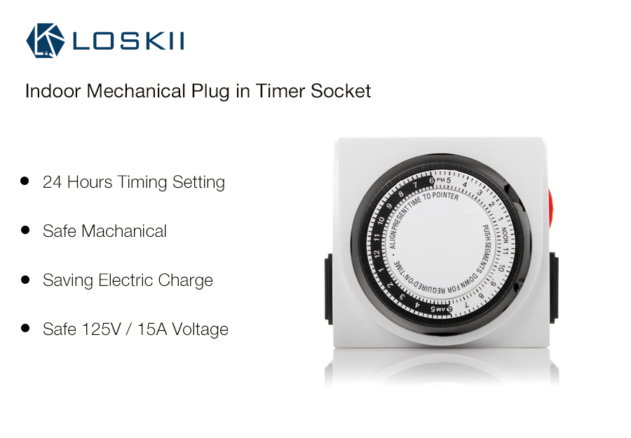 Loskii SH-100 15A 125V 24Hours Mechanical US Plug Indoor Use Plug in Timing Switch Timer Socket Switch