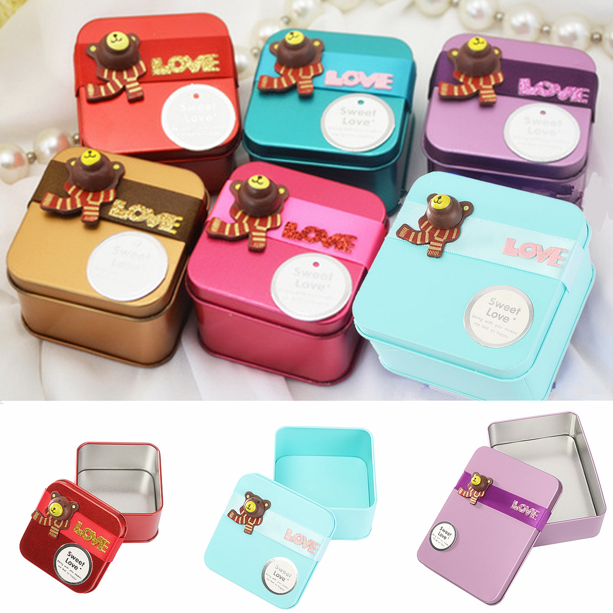 Christmas Iron Tin Gift Box Bear Pattern Birthday Wedding Party Favor Jewelry Storage Card Case Holder