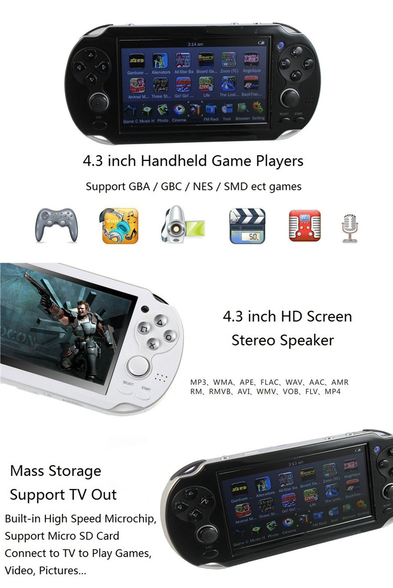 Handheld 4GB Game mp5 mp3 mp4 Player with Dual Joystick Camera FM TV-Out Portable Shock Game Console