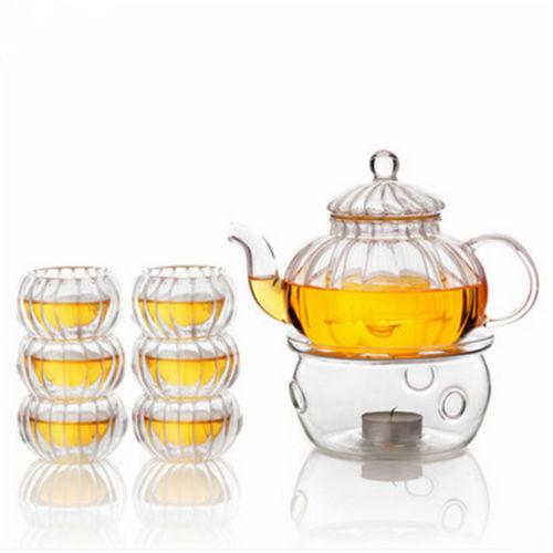 Image of 600ml6TassenTeelichtWärmerklar Kürbis Tee Glas Topf Set Infuser Kaffeekanne
