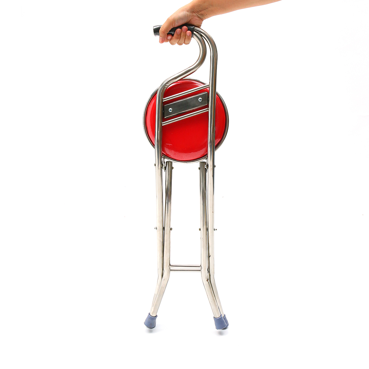 Stainless Steel Portable Folding Walking Stick Chair Seat