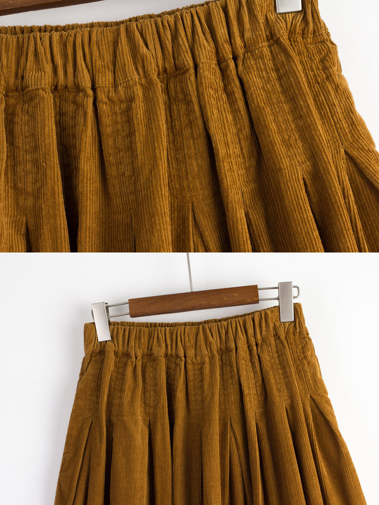 Mori Girl Pure Color Corduroy Skirt