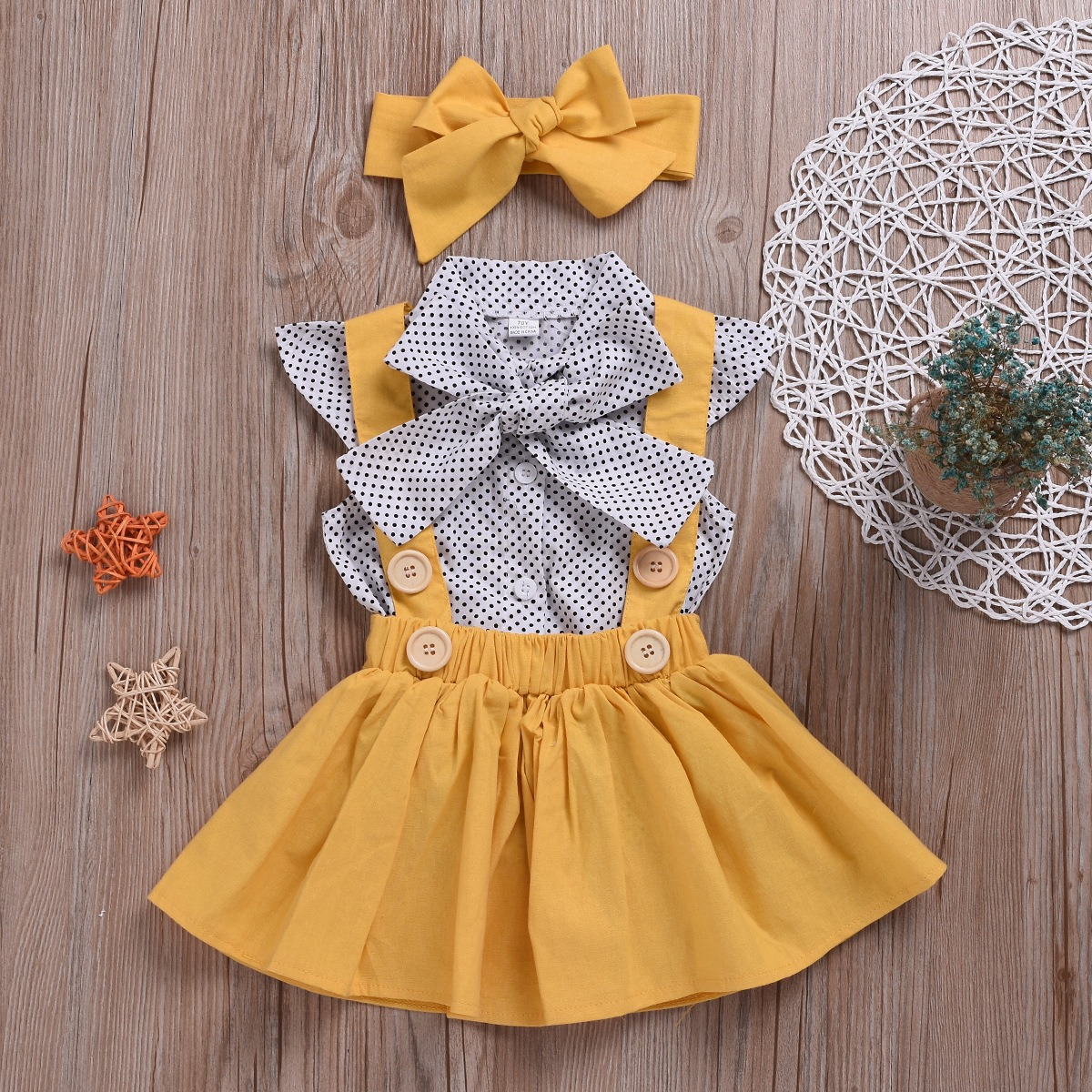 Polka Dot Girls Top + Bow + Dress Three-Piece Set for 2Y-5Y