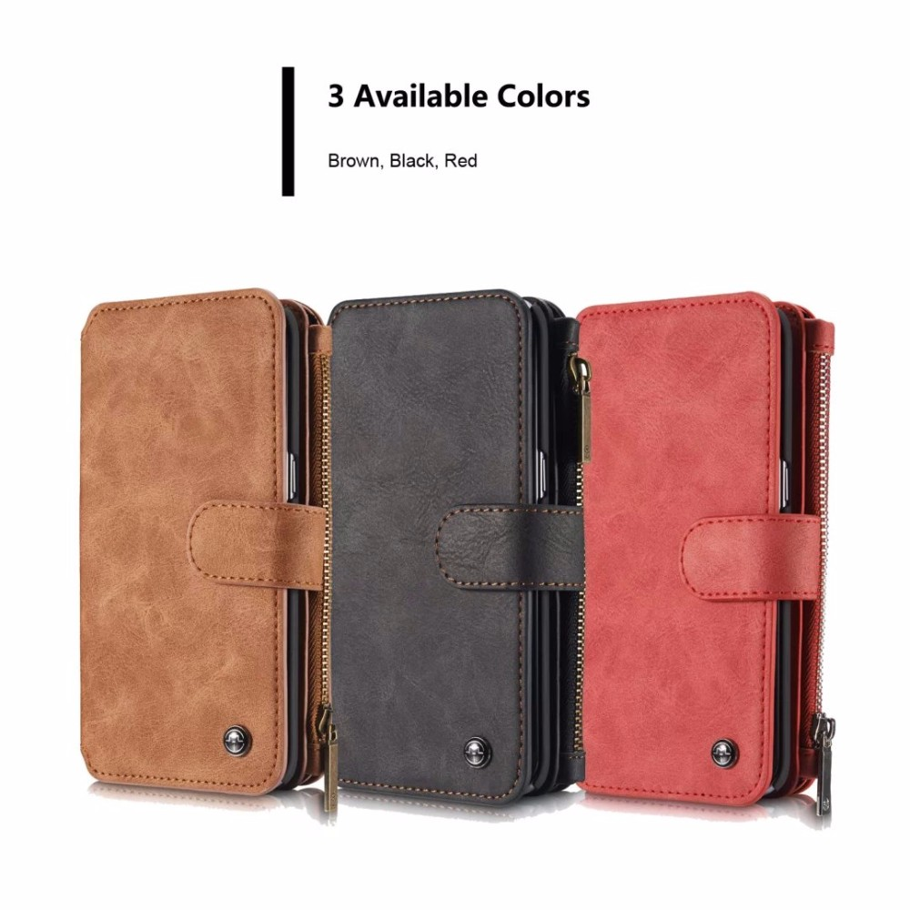 CaseMe Vintage Leather Multifunctional Detachable Zipper Wallet Case For Samsung Galaxy S6 Edge