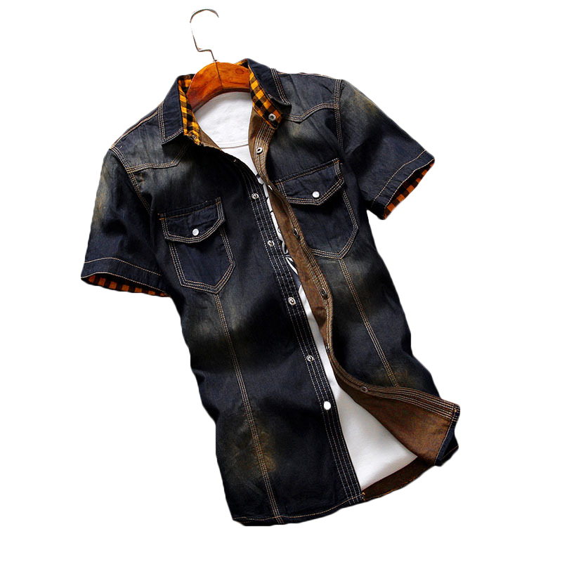 Summer Vintage Classic Short Sleeve Denim Shirts for Men