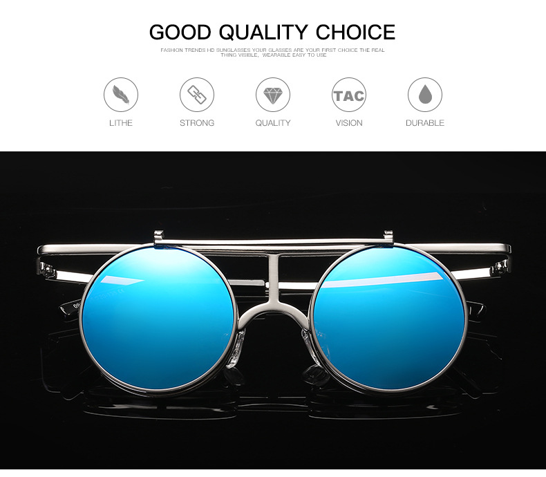 Steam Punk UV400 Sunglasses Polarized Lens Flip-ope Vintage Round