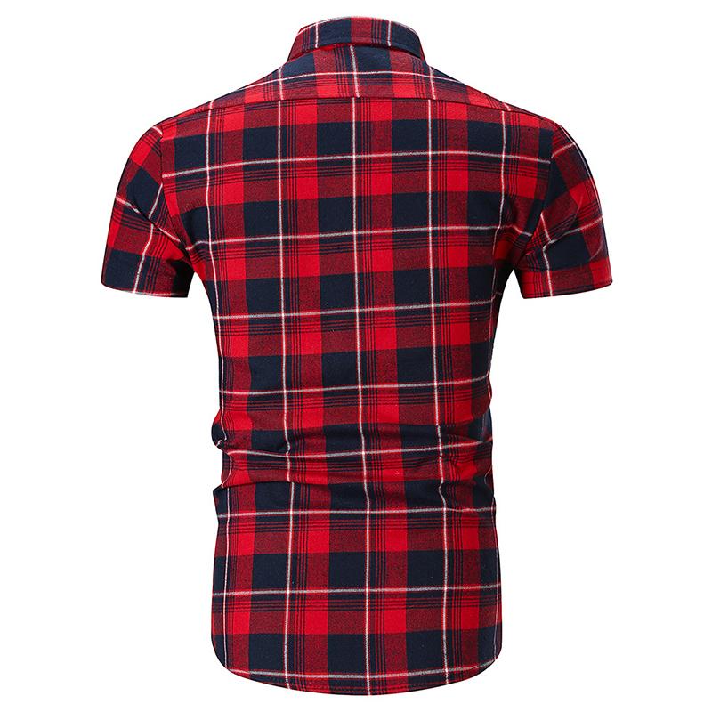 Mens Fashion Plaid Printing Turn Down Collar Casual Shirts