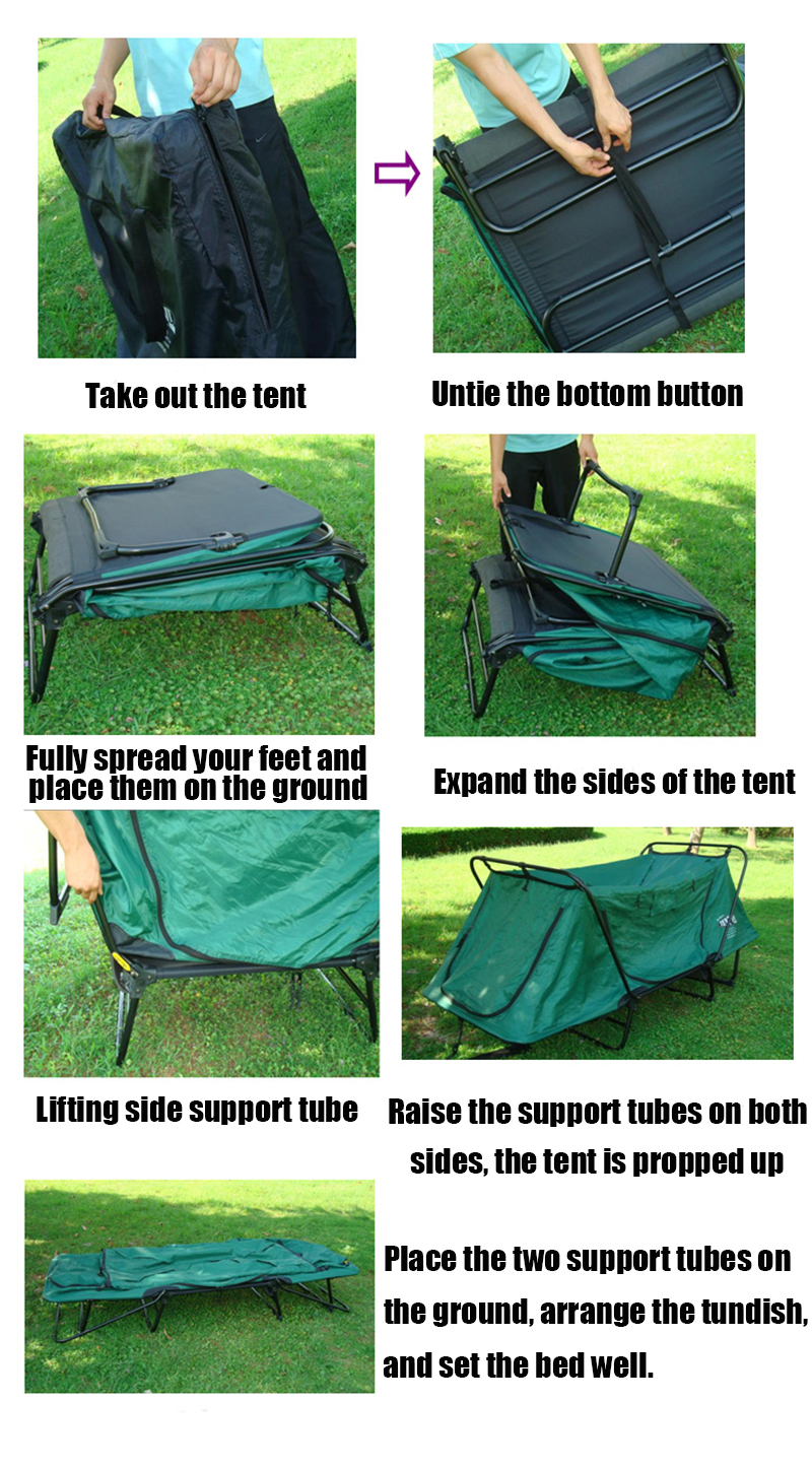 1-2 Person Automatic Smart Tent Waterproof Folding Camping Bed Tent Off Ground Tent
