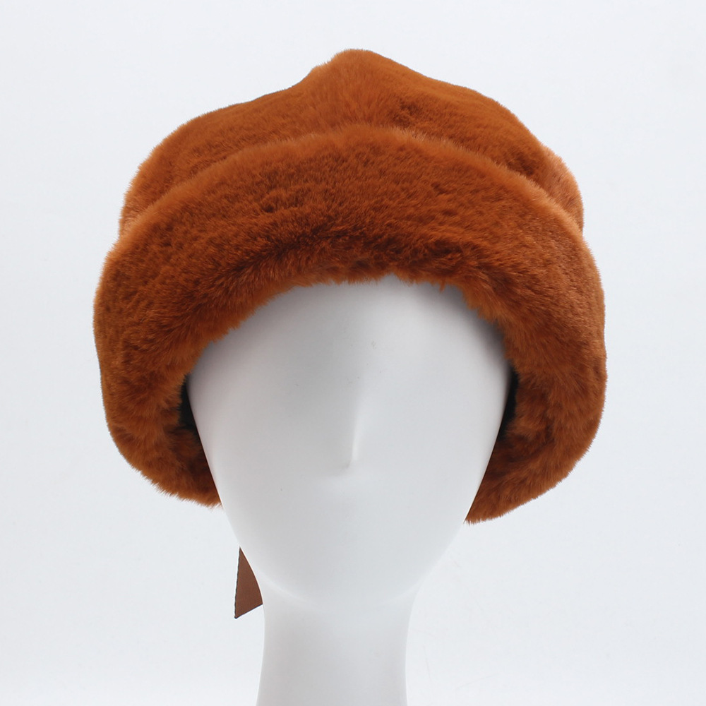 Women's Winter Soft Warm Fur Hat Adjustable Buckled Hats
