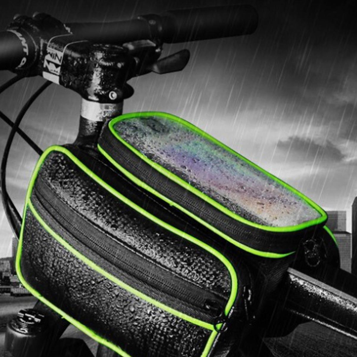 BIKIGHTBiciperbiciclettaanterioretelaio tubo Phone Borsa Touch Screen impermeabile doppio sacchetto ciclismo Borsa