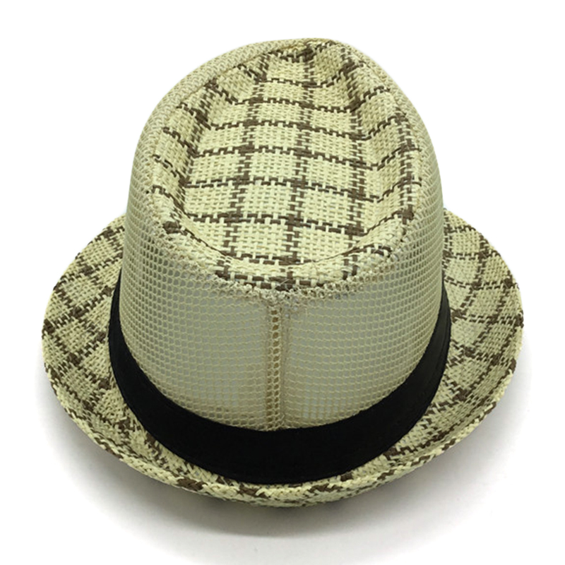 Mens Summer Mesh Woven Straw Jazz Hat