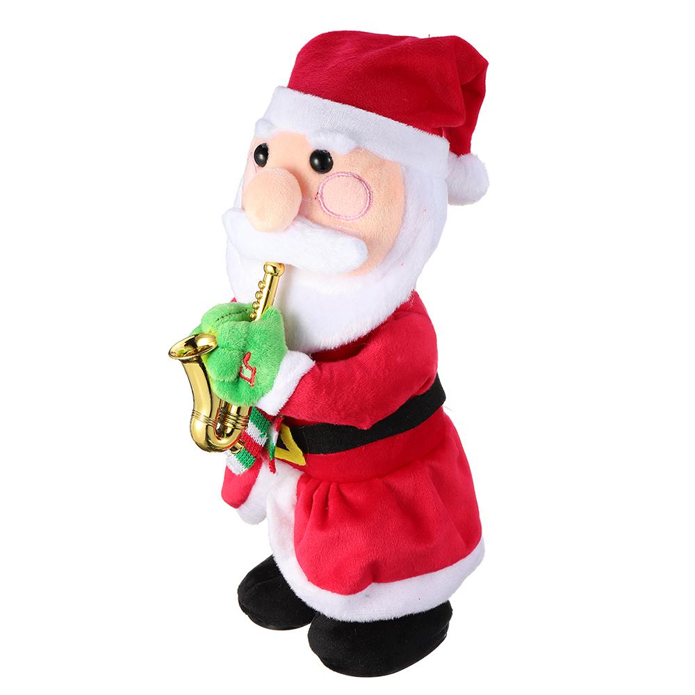 Dancing Father Christmas Reindeer Waving Christmas Hat Stuffed Plush Toy Funny Gift