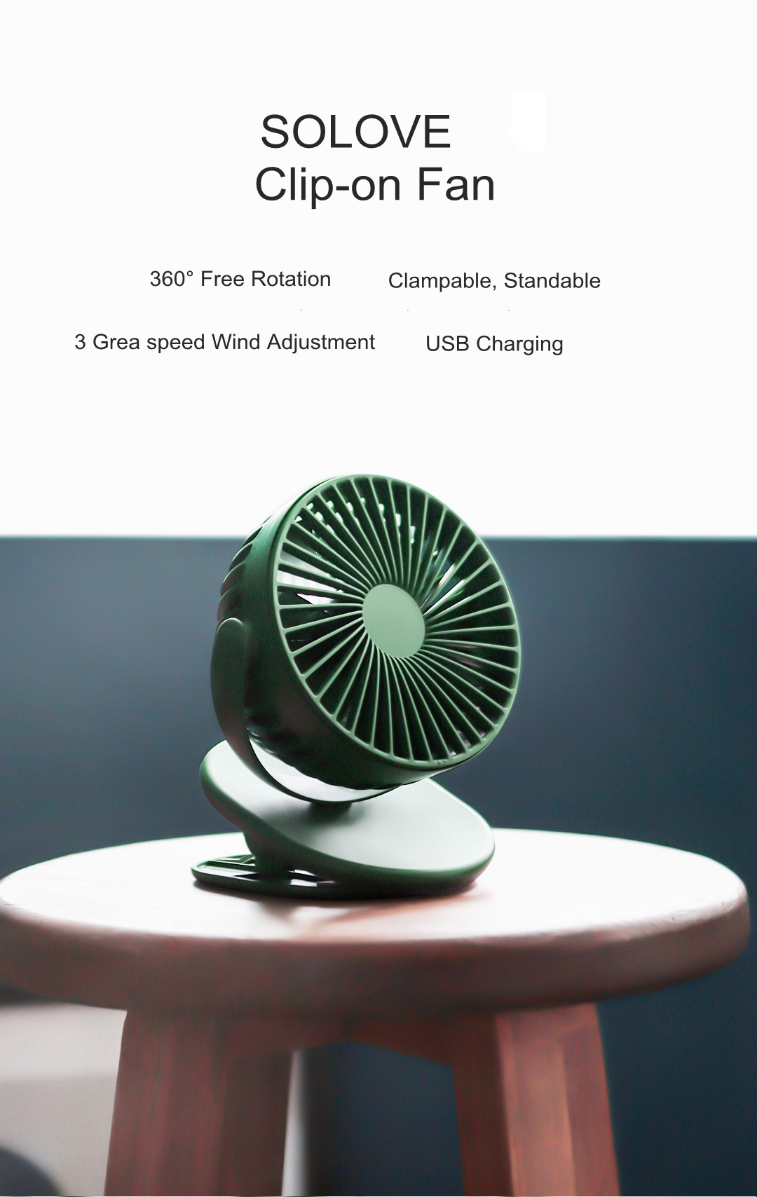 XIAOMI SOLOVE 360 Degree Rotating USB Clip-on Mini Fan