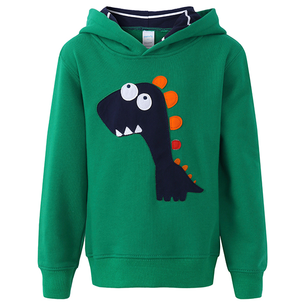 Kid Boys Casual Long Sleeve Dinosaur Pattern Hooded Sweatshirt
