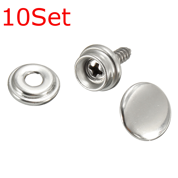10Set Snap Fastener Screws With Attaching Tool For Boat