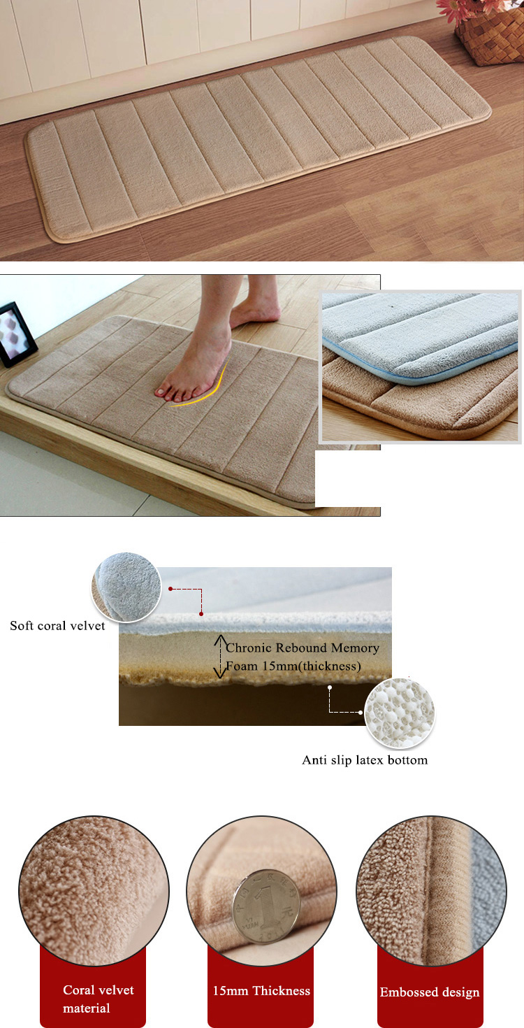 Honana WX-327 120x40cm Foam Absorbent Floor Mat Coral Velvet Anti Slip Bath Carpet Slow Recovery Door Rug