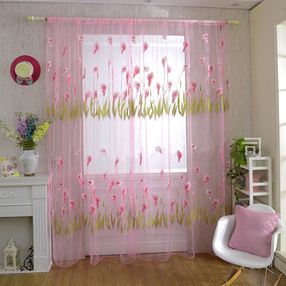 Alocasia Macrorrhizos Flowers Print Tulle Window Curtain Balcony Bedroom Bay Window Screen